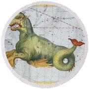 Constellation Of Cetus The Whale Round Beach Towel