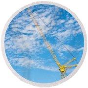 Construction Crane Round Beach Towel