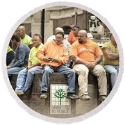 Construction Workers One World Trade Center Round Beach Towel