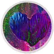 Contours Of The Heart Round Beach Towel