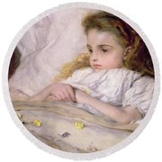 Convalescent Round Beach Towel by Frank Holl