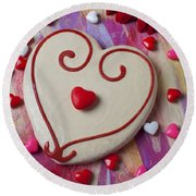Cookie And Candy Hearts Round Beach Towel by Garry Gay