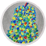 Cool Crazy Pear Abstract Painting Round Beach Towel