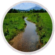 Cool Mountain Stream Round Beach Towel by Frozen in Time Fine Art Photography