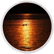 Coots In The Sunset Round Beach Towel
