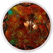 Copper Flower Round Beach Towel