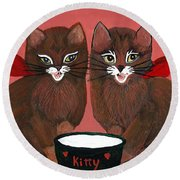 Copper Kitty Round Beach Towel
