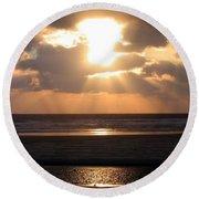 Copper Sunset Stroll Round Beach Towel