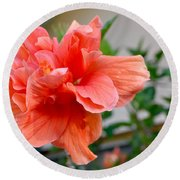 Coral Hibiscus Round Beach Towel