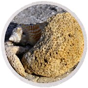 Coral On Shore Round Beach Towel