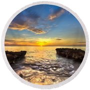 Coral Tides Round Beach Towel