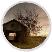 Corn Crib Round Beach Towel