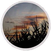 Corn Field With Orange Clouds Round Beach Towel