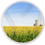 Corn Field With Silos Round Beach Towel
