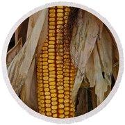 Corn Stalks Round Beach Towel