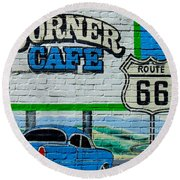 Corner Cafe Round Beach Towel