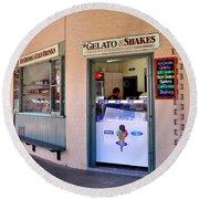 Corner Ice Cream Store Round Beach Towel