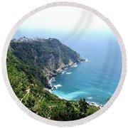 Corniglia Cinque Terre And Vineyards Round Beach Towel