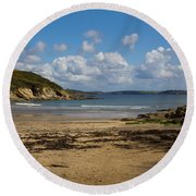 Cornish Seascape Maenporth Round Beach Towel
