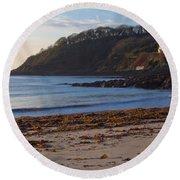 Cornish Seascape Meanporth Round Beach Towel