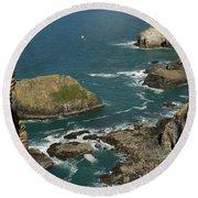 Cornish Seascape St Agnes  Round Beach Towel
