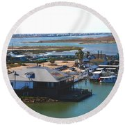 Corpus Christi Bay Towards Mustang Island Texas Round Beach Towel