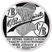 Corset Advertisement, 1888 Round Beach Towel
