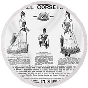 Corset Advertisement, 1892 Round Beach Towel