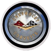 Corvette Name Plate Round Beach Towel