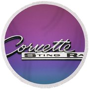 Corvette Sting Ray Emblem Round Beach Towel