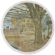 Cos Cob In November Round Beach Towel by Childe Hassam