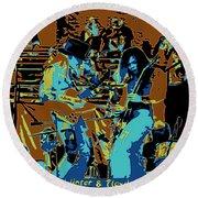 Cosmic Winter Blues 1975 Round Beach Towel