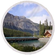 Crossing Emerald Lake Bridge - Yoho Nat. Park, Canada Round Beach Towel