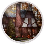 Cottage - Westfield Nj - A Place To Retire Round Beach Towel by Mike Savad