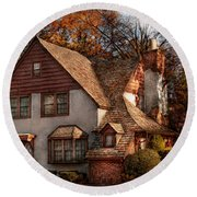 Cottage - Westfield Nj - Family Cottage Round Beach Towel by Mike Savad