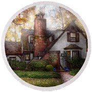 Cottage - Westfield Nj - Grandma Ridinghoods House Round Beach Towel by Mike Savad