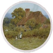 Cottage At Broadham Green Surrey In Sunset Light Round Beach Towel