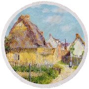 Cottage At Le Vaudreuil Round Beach Towel by Gustave Loiseau