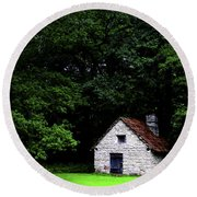 Cottage In The Woods Round Beach Towel by Fabrizio Troiani