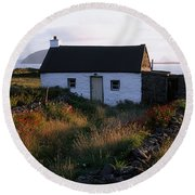 Cottage, Near Dunquin, Dingle Round Beach Towel
