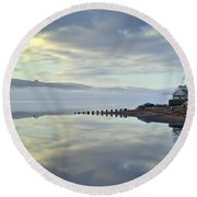 Cottage On The Shore Round Beach Towel