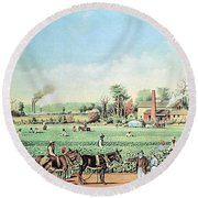 Cotton Plantation On The Mississippi Round Beach Towel by Photo Researchers