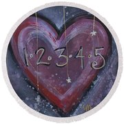 Counting Heart Round Beach Towel