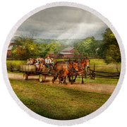 Country - Horse - Life's Pleasures Round Beach Towel