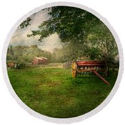 Country - The Crops Almost Ready  Round Beach Towel