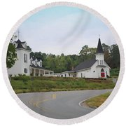 Country Church In Texture Round Beach Towel