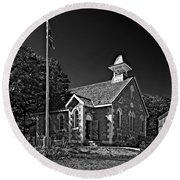 Country Church Monochrome Round Beach Towel