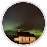 Country Church Night Photography Round Beach Towel