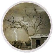 Country Horses Lightning Storm Ne Boulder Co 66v Bw Art Round Beach Towel