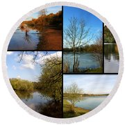 Country Parks Collage Round Beach Towel